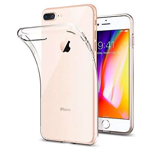 Spigen Coque iPhone 7/8 Plus [Liquid Crystal] Souple en Silicone, Adhérence Parfaite, Anti-Trace, Coque iPhone 7 Plus, Coque iPhone 8 Plus - Transparent
