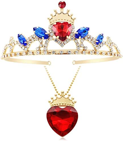Botrinal Evie Red Heart Necklace and Descendants 3 Crown Gold Tiara Jewelry Set Queen of Hearts product image