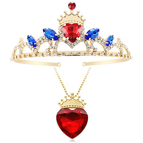 Botrinal Evie Red Heart Necklace and Descendants 3 Crown Gold Tiara Jewelry Set Queen of Hearts Eive Costume for Girls Teen Halloween