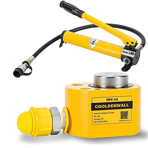 CGOLDENWALL 10T Einzelabschnitt Hydraulikzylinder + CP-180 Hydraulik Pumpe Hydraulikheber Ultradünner 丨 12 mm Hub 丨52 mm Eigenhöhe 丨 15.89 cm²Nutzfläche Hydraulischer Flaschenzylinder