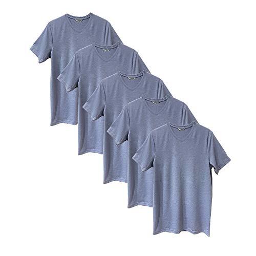 Pack 5 Camisetas Manga Corta Mix Algodón con Cuello Pico Básico para Hombre (Pack Azul, XXL)