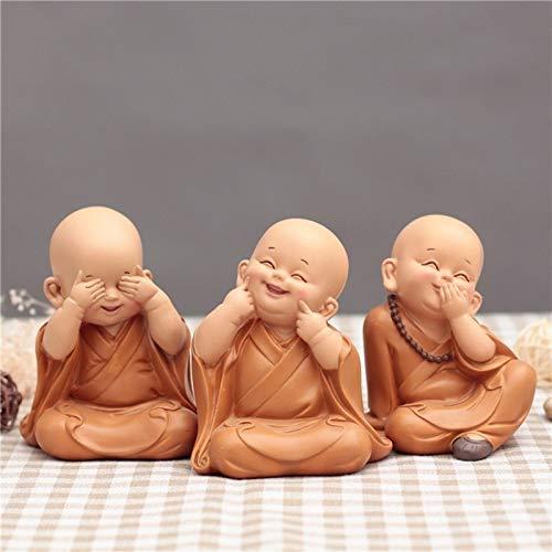 L.TSN Adornos de Estatua de pequeño Monje Resina de Estilo Chino Tallada a Mano pequeña Estatua de Buda artesanías Accesorios de decoración del hogar Regalos