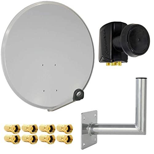 PremiumX Satelliten-Komplettanlage 80cm Satellitenschüssel Hellgrau SAT Quad LNB 8X F-Stecker Wandhalter 25cm bis 4 Teilnehmer