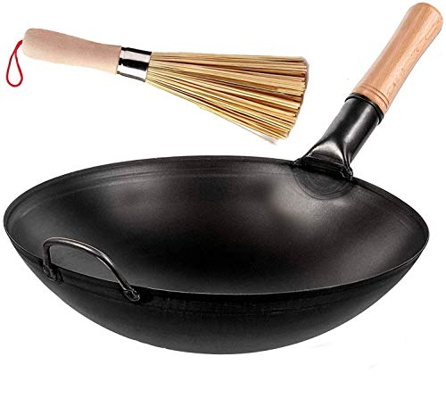 Wok Pan with Cleaning Whisks Beach Wooden Handle - Non-Stick 14 Inch Black Carbon Steel Chinese Wok with Round Bottom for Stir Fry Cooking - The Chinese Wok choice of Chefs