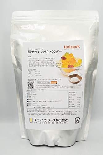 豚ゼラチン250 [ パウダー ] Unicook 【透明性が良くゼラチン臭が少ない】 高グレードな豚由来 (1kg) お徳用 大容量 業務用