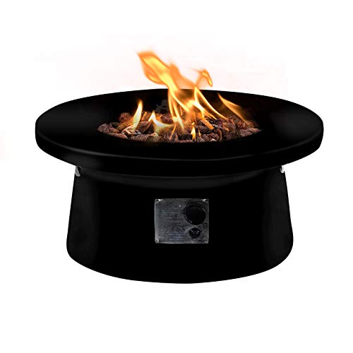 AMKV Propane Fire Table,50,000BTU Black Fire Pit Table with Free Lava Rock and Side Handle for Backyard,Patio,Garden.
