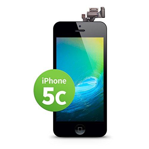 GIGA Fixxoo Schermo singolo di Ricambio per iPhone 5c Apple, Display LCD Retina ad Alta Risoluzione, Touch Screen in Vetro con Fotocamera, Altoparlante & Sensore Prossimità; Guida Video Online - Negro