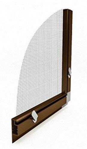 Fliegengitter- Fenster- Mücken- Insektenschutz- Alu- Braun optimal für Rolläden (100cm x 120cm, 13mm Einhängewinkel)