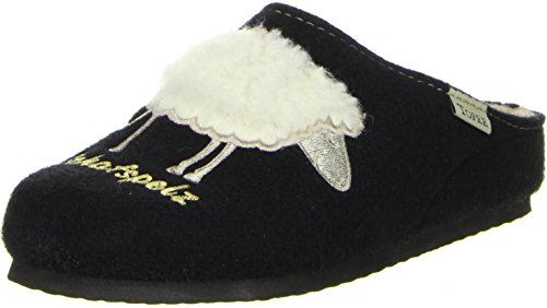 TOFEE Damen Hausschuhe (Schafspelz) schwarz, Größe:39, Farbe:Schwarz