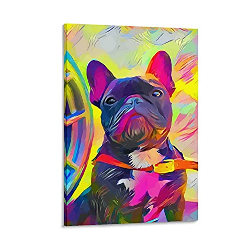 zhenchi French Bulldog Canvas Art Poster and Wall Art Picture Print Modern Family Bedroom Decor Posters 24×36inch(60×90cm)