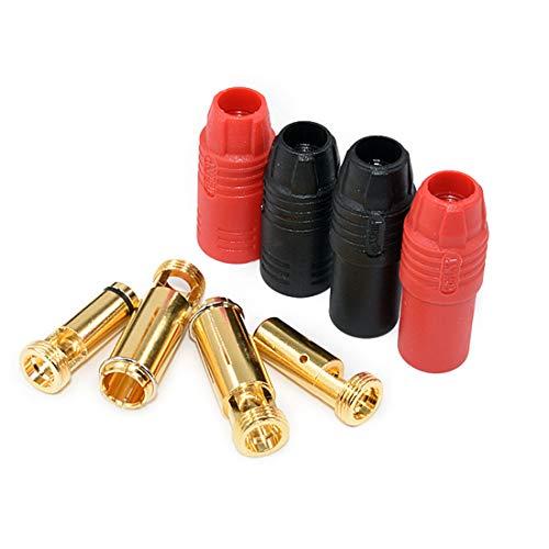 FLY RC 2 Paar Ladegerät Stecker Anti-Spark Gold Bullet AS150 7mm Stecker und Buchse für S1000 und mehr [1 Paar Rot + 1 Paar Schwarz]