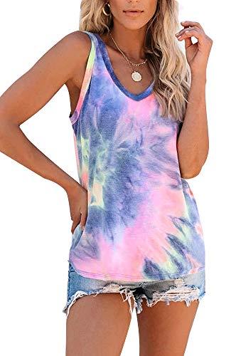 SAUKOLE Women's Sleeveless Yoga Workout Tank Tops Racerback Cute Printed Loose Fit Running Exercise T-Shirt
