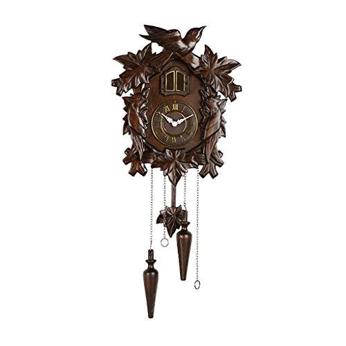hongbanlemp Relojes De Pared Creativo Reloj de Pared de Cuco Europeo Retro Sala de Estar Reloj de péndulo de Madera Maciza Oficina En Casa Decorativa (Color : B, Size : 66 * 29CM)