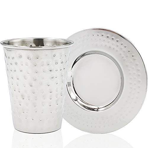 Kiddush Cup Stainless Steel with Matching Saucer, For Shabbos, Holidays, and Havdalah - Non Tarnish Judaica (Battered Kiddush Cup with Stem & Matching Saucer)