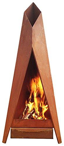 KarmaWorks - XXL Designer Gartenkamin Terrassen Ofen - Feuerstelle aus hochwertigem Cortenstahl in Rostoptik Edel Rost