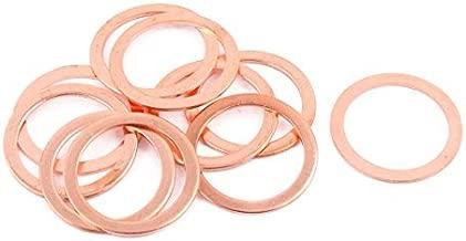 DealMux 10pcs de 26 mm x 20 mm x 1 mm plana de cobre del anillo Crush arandela de sellado de juntas de tornillos