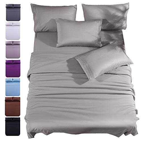 King Size 6-Piece Bed Sheets Set Microfiber 1800 Thread Count Percale 16 Inch Deep Pockets Super Soft and Comforterble Wrinkle Fade and Hypoallergenic(King,Grey)