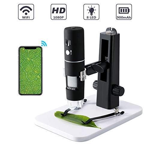 USB WiFi Mikroskop Kamera, ROTEK Mini Mikroskop für Kinder 1000X Zoom 1080P Full HD mit Professionellem Aufzug-Stand, Mikroskop Digital mit 8 LED für Handy iphone ios Android ipad PC Windows, Mac