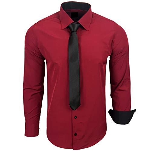 Baxboy 444-BK Herren Kontrast Hemd Business Hemden mit Krawatte Hochzeit Freizeit Fit, Farbe:Bordeaux, Größe:L