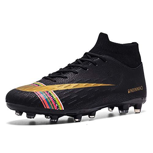 Los Zapatos Deportivos Copa del Mundo de fútbol para Adultos, Zapatos de Entrenamiento niños y los Adultos al Aire Libre Profesionales Botas de fútbol (Férula Larga de fútbol),Negro,39
