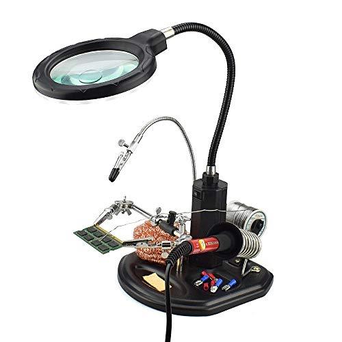 MMOBIEL Troisième main Robuste avec Loupe 2.5X à 4X, Lampe LED, Support Fer à souder avec Pinces et clips de soutien