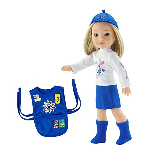 Emily Rose 14 Inch Doll Clothes | 6 Piece Daisy Girl Scout 14' Doll Outfit Including Hat and Vest | Gift Boxed! | Compatible with 14.5' Wellie Wishers and 14' Glitter Girls Dolls