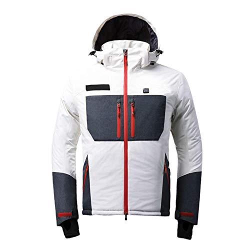 ELEAMO Fast Heat - Chaquetas de esquí para hombre, resistente al agua, con capucha, cortavientos, para senderismo, montañas, cálidas, largas y gruesas y resistentes al desgaste, color blanco, XXXL