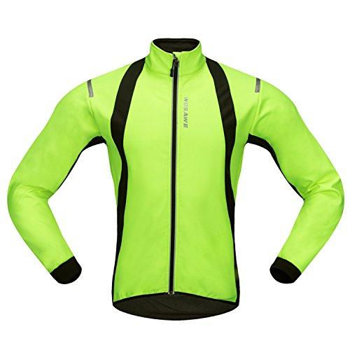 Movaty Chaquetas para Hombre,Chaqueta Ciclismo,Resistente a la Lluvia Prueba de Salpicaduras térmica de Alta Visibilidad Silver Reflectante,M L XL XXL para los Hombres,Ciclismo de MTB Bici,Verde