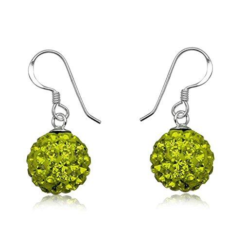 12MM Disco Ball Sterling Silver Dangly/Dangle Drop Hook Earrings for Women/Teenage/Girls - 925 Sterling Silver - Round Silver Earrings - GREEN OLIVINE