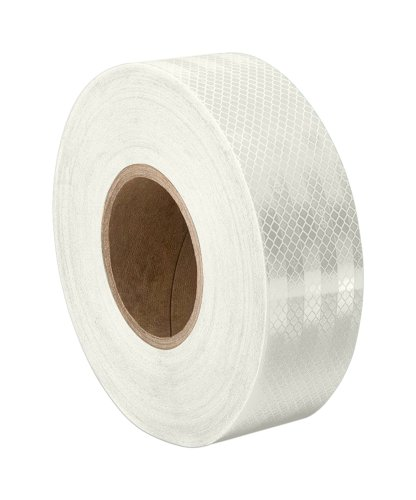 """3M - 1/2-50-3430 (CASE OF 2) Reflective and Glow in the Dark Tape 3430, 0.5"""" Wide, 50 yd. Length, White (Pack of 2)"""