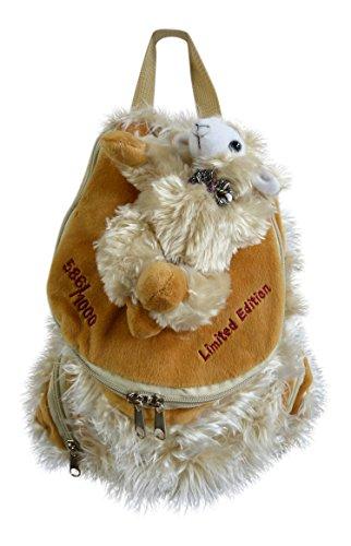 Blickfang Schaf Bobbl Plüsch/Fell Rucksack - weiß - Mit aufgenähtem Stofftier