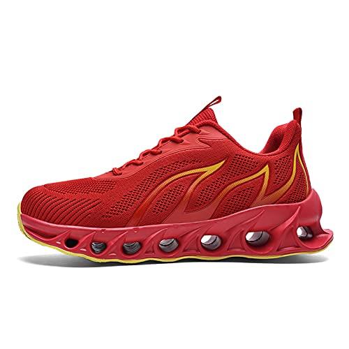 JHHSYU Hombres Zapatos de caminar Casual Moda Antideslizante Ligero Transpirable Malla Running Zapatos Cómodo Hombres Entrenamiento Atlético Gimnasio Caminar Tenis 2107, Rojo, 41 EU