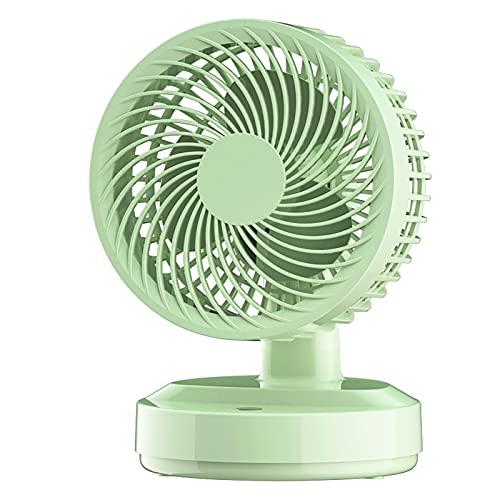 PLOKU Mini ventilatore portatile da tavolo, piccolo ventilatore da tavolo personale, con batteria ricaricabile USB per il raffreddamento viaggi ufficio casa verde D