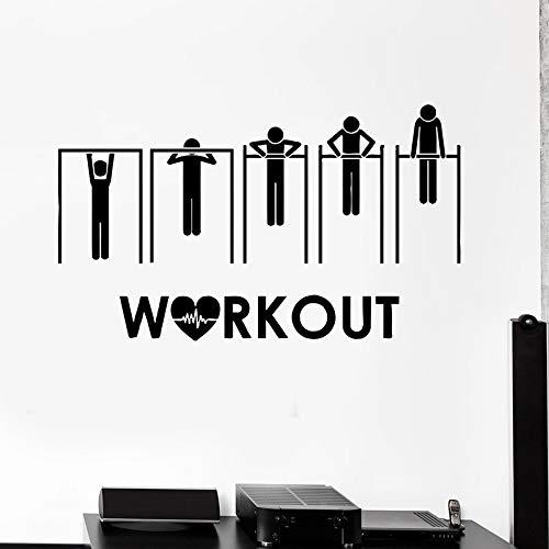 Calcomanías de pared de fitness deportes salud barra horizontal pull-ups puertas ventanas pegatinas de vinilo dormitorio gimnasio decoración de interiores palabra mural