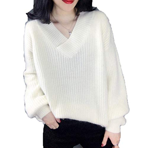 V Neck Solid Women Sweaters Korean Fashion Pullovers Winter Clothes Loose Warm Sueter Mujer Outwear White M