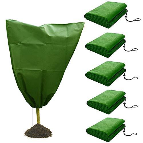 ZDYLM-Y Funda Protectora para Plantas de Invierno con diseño de cordón, Cubierta de Tela Transpirable Resistente para Plantas de jardín, 5 Piezas,100x80CM