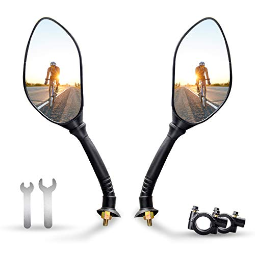 ANVAVA Bike Mirror, Bike Rear View Mirror, Bike Mirror Handlebar Mount, Wide Angle Rear View Shockproof Convex Mirror Universal for Most Bicycle-Glass Lens, HD, Anti-shake - 1 Pair