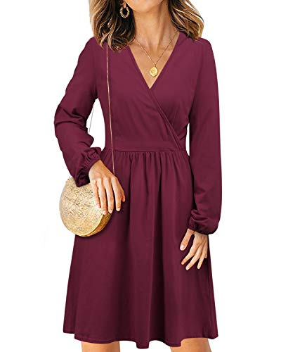 STYLEWORD Women's V Neck Long Puff Sleeve Casual Swing Solid Midi Dress with Pocket(488Dark Red, S)