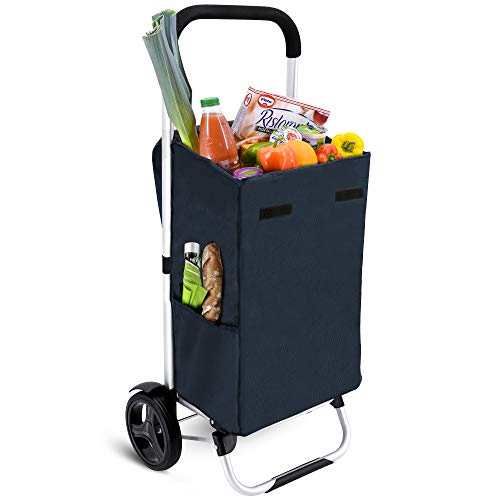 MACORA Einkaufstrolley groß in dunkelblau 36L mit Seitentaschen - Trolley klappbar mit wasserabweisender & abnehmbarer Tasche