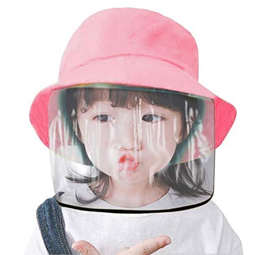 Yontree - Gorro protector facial para niños, antisaliva, anticontaminación, antipolvo, salpicaduras, cubierta facial extraíble, a prueba de polvo, gorro de pescador, gorro de algodón, color rosa