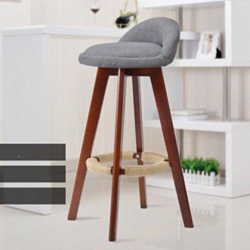 Unbekannt Guo Shop- Minimalistische, Massivholz, Leinen Kissen Bar Kreative Hochstuhl Europäischen Stil Holzstuhl Vintage Barhocker, Höhe 73 cm Guter Stuhl (Farbe : Gray)