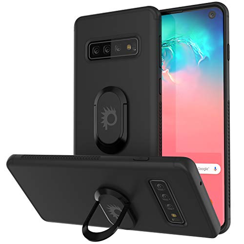 Punkcase S10 Case [Magnetix Series] Protective TPU Cover W/Kickstand, Ring Grip Holder & Metal Plate for Magnetic Car Phone Mount with Screen Protector Compatible W/Samsung Galaxy S10 [Black]