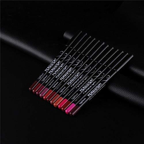 Traceur à lèvres 12 couleurs Tige noire fashion Tige noire imperméable à l'eau Smooth Matte