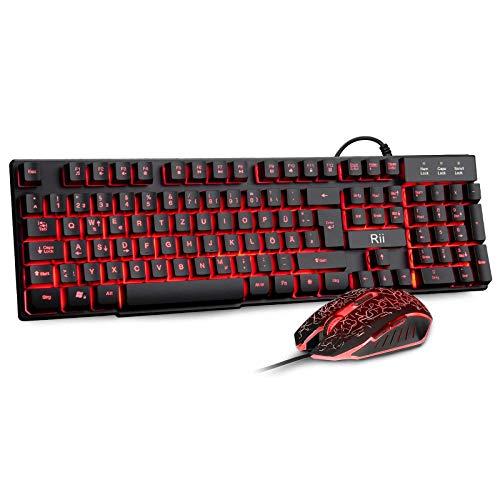 Rii Gaming Tastatur und Maus Set, Gaming Tastatur Set mit Maus, Maus Tastatur Set 3 LED Hintergrundbeleuchtung, ideal für Gaming und Büro (DE-Layout)