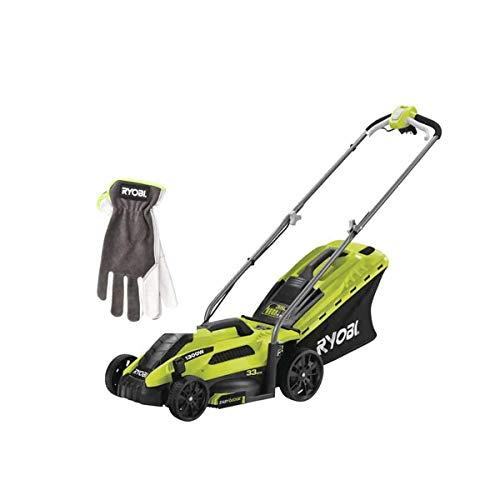 Pack RYOBI Cortadora de césped eléctrica 1300W Cut 33cm RLM13E33S - Guantes de Jardinería Talla XL RAC810XL