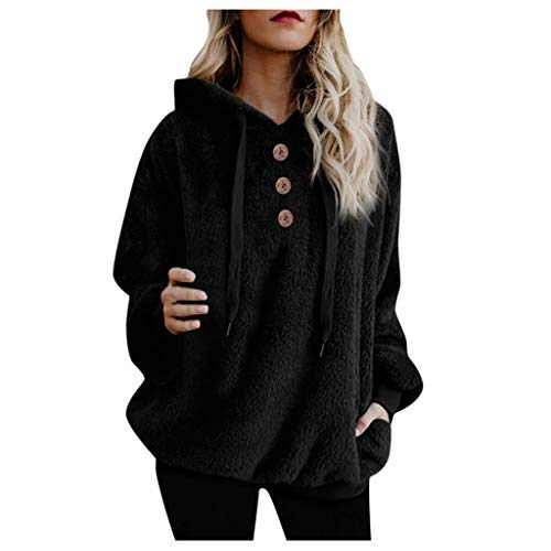 Sweatshirt for Women Furry Button Hoodies Plus Size Long Sleeve Pullovers Outerwear Black