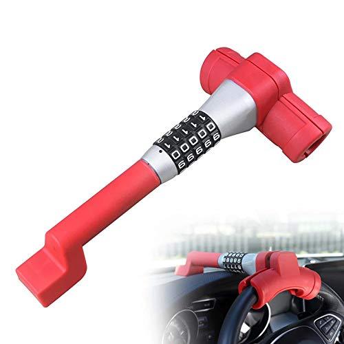 Yadlan Barra Antirrobo Reforzada, Código Combinación Alta Seguridad,Cerradura Antirrobo del Volante del Coche Cerradura de la Contraseña Bloqueo de Seguridad del Vehículo Universal (Color:Rojo)