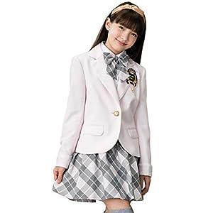 [DECORA PINKY'S] 卒業式 小学生 女の子 スーツ (ガールズフォーマル 5点セット) 子供服 [チェックスカート リボン付き] ジュニア ガールズ ピンク 160cm