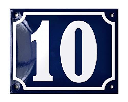 Ramsign huisnummers 1 tot 200. Deens design. Prachtig handgemaakt en extreem duurzaam (glasachtig email). 14 x 11 cm. Blauw met witte cijfers Klassiek Number 10 Blauw en wit