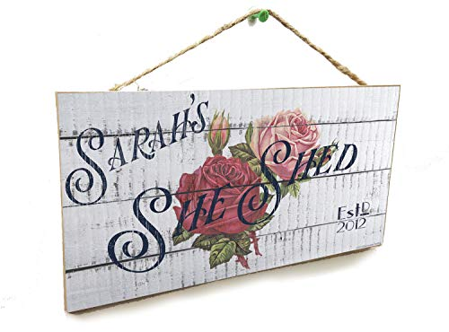 Personalized Flower (Your Name) She Shed With Year Custom INDOOR USE 5' x 10' SIGN Wall Plaque